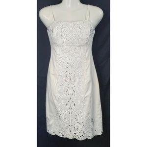 White House Black Market White Silver Beaded Dress